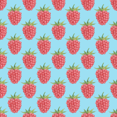 Seamless Raspberries Pattern on Light Blue background. Watercolor Baby Girl collection.