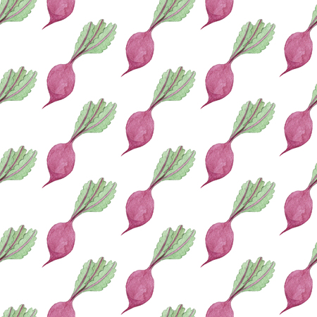 Seamless Beet Pattern. Watercolor Baby Girl collection. Фото со стока - 92204673