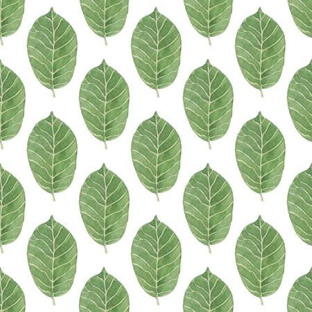 シームレスな緑の葉パターン。水彩画の赤ちゃん少女コレクション。