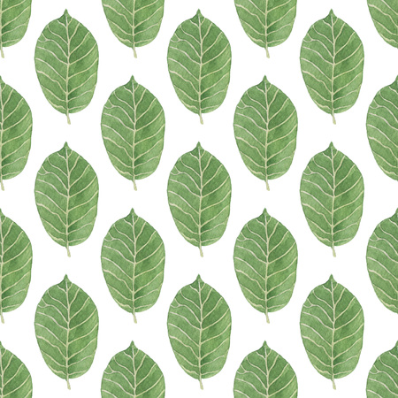Seamless Green Leaves pattern. Watercolor Baby Girl collection. Фото со стока
