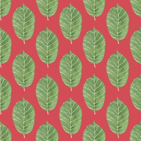 暗い赤の背景にシームレスな緑の葉パターン。水彩画の赤ちゃん少女コレクション。 写真素材
