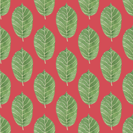 Seamless Green Leaves Pattern on Dark Red Background. Watercolor Baby Girl collection.