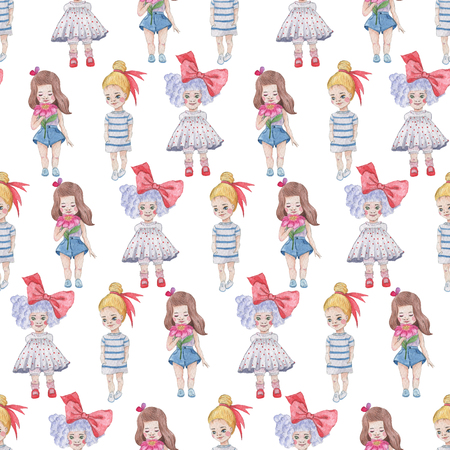 Seamless pattern. Watercolor Baby Girl collection. Фото со стока - 92204675
