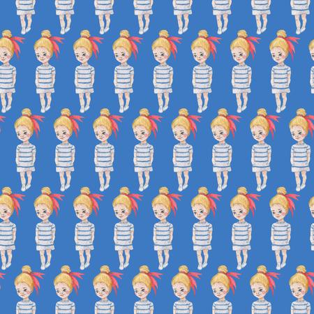 青い背景にシームレスな人形のパターン。水彩画の赤ちゃん少女コレクション。 写真素材