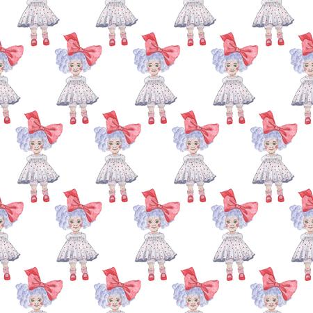 シームレスなパターン。水彩画の赤ちゃん少女コレクション。