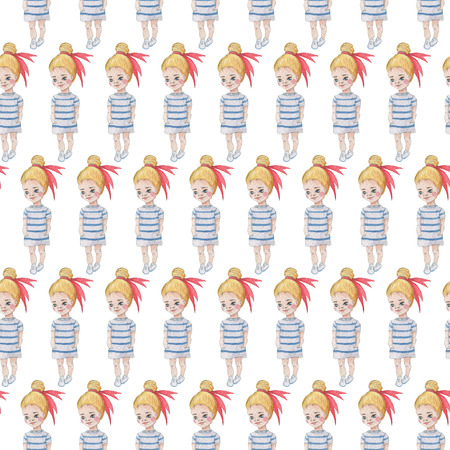 Seamless pattern. Watercolor Baby Girl collection.