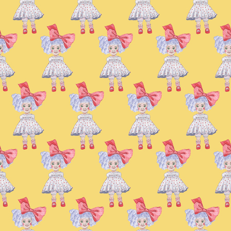 Seamless pattern on yellow background. Watercolor Baby Girl collection. Фото со стока