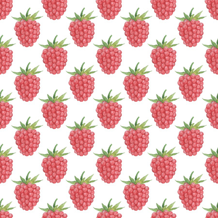 Seamless Raspberries pattern. Watercolor Baby Girl collection.