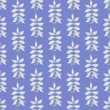 青い背景にシームレスな抽象的なライトブルーの枝パターン。水彩画の赤ちゃん少女コレクション。