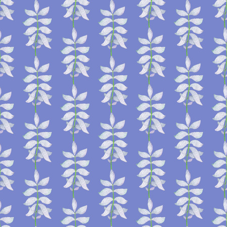 Seamless Abstract Light Blue Branch Pattern on Blue Background. Watercolor Baby Girl collection. Фото со стока - 92194464