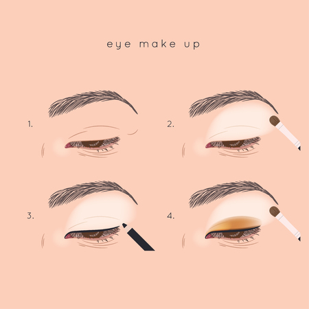 How to apply eye shadow. Eye make up step by step