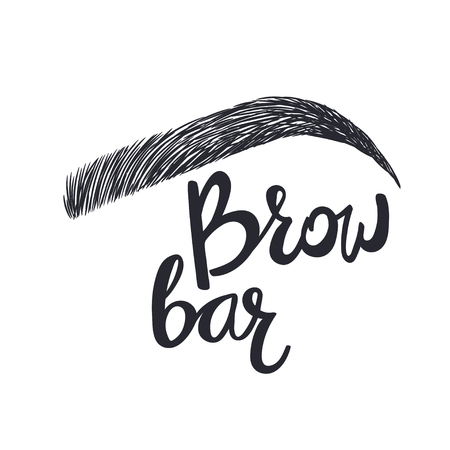 Design for brow bar. Brow Bar Text and eyebrow Illustration