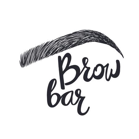 Design for brow bar. Brow Bar Text and eyebrow Vettoriali
