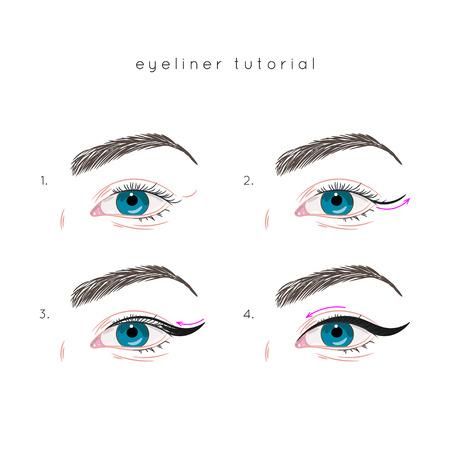 How to apply eyeliner. Eye make up step by step Иллюстрация