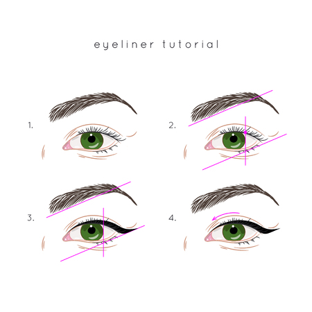 How to apply eyeliner. Eye make up step by step Vectores