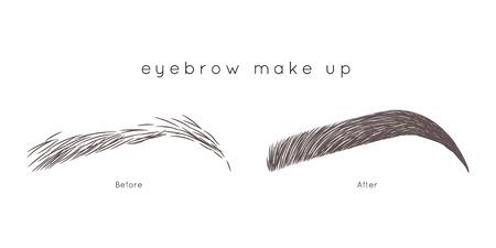 How to make up eyebrow. Eyebrow Tutorial. Beautiful brow step by step Stok Fotoğraf - 94889953