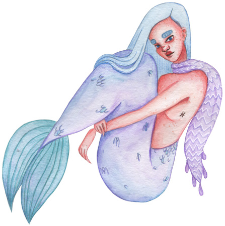 Zodiac watercolor girl illustration, sign. Pisces. Horoscope hand painted drawing