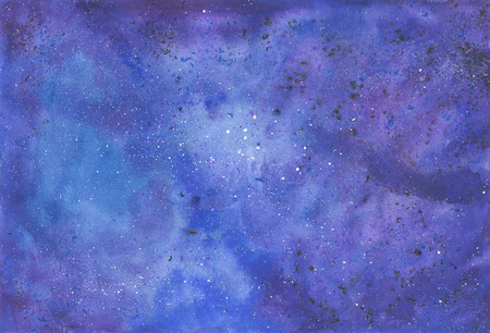 Watercolor deep sky background. Night sky hand painted illustration