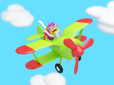Cartoon bird flying in the clouds on a plane looped animation