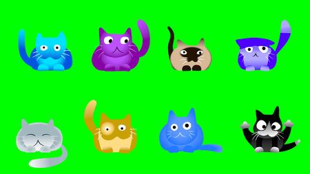 baile caricatura: Dibujos animados gatos musicales que miran en la pantalla verde
