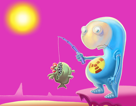 Cartoon Alien in a blue suit is fishing on the Red Planet Stock Photo