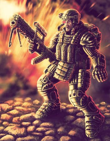 firing: Soldier of the Future. Heavy Infantry Firing with a Large Plasma Rifle. Science Fiction Original Character
