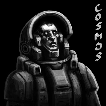voyager: Astronaut. Sketch in Black and White Colors. Freehand digital drawing.
