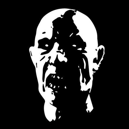 phantom: Zombie face horror picture black and white color vector illustration Illustration