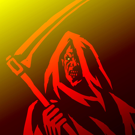 Phantom Reaper. Head in the Hood. Scary Horror Character Face. Graphic Design.