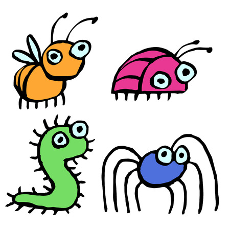 Funny cartoon insects crawling somewhere. Vector illustration. Contour Freehand Digital Drawing.
