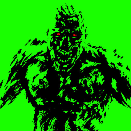 anger zombie attack in black and green color. horror image. contour freehand digital drawing. vector illustration 向量圖像