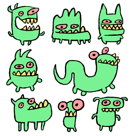 strangeness: Funny Green Monsters in Different Shapes Vector Illustration. Contour Freehand Digital Drawing Cute Pet. White Color Background. Cheerful Collection Creatures for Web Icons and Shirt.