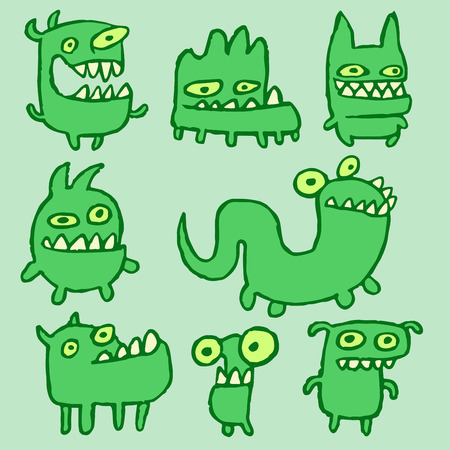 strangeness: Green Monsters Emoticons Set. Funny Cartoon Cool Characters. Contour Freehand Digital Drawing Cute Thing. Green Color Background. Cheerful Collection Creatures for Web Icons and Shirt. Vector Illustration.