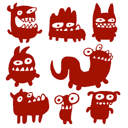 Funny Cartoon Black Flat Monsters Isolated Vector Illustration. Aliens Look Like Mutant Bugs Germs.Cheerful Collection Creatures for Web Icons and Shirts. Pictures for Kids.