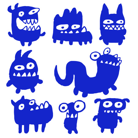 strangeness: Funny Blue Flat Monsters Isolated Vector Illustration. Contour Freehand Digital Drawing Cute Pet. White Color Background. Cheerful Collection Creatures for Web Icons and Shirt. Illustration