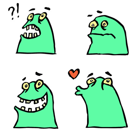 strangeness: Green Monster Emoticons Set.Cheerful Collection Creature for Web Icons and Shirts.Pictures for Kids. Funny Cartoon Cool Character.Isolated Vector Illustration.