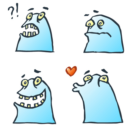 strangeness: Funny Blue Gradient Flat Jelly Monsters Isolated Vector Illustration. Contour Freehand Digital Drawing Cute Characters. White Color Background. Cheerful Collection Creatures for Web Icons and Shirt.