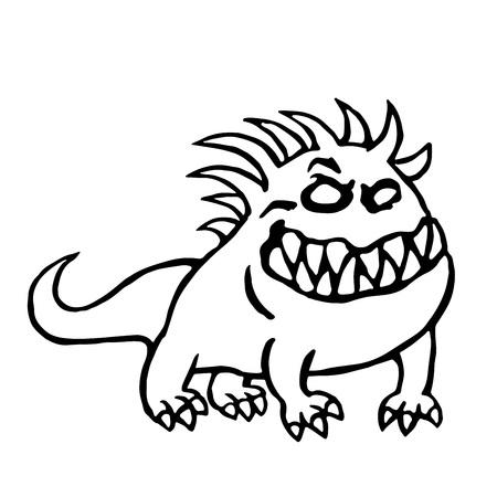 Cartoon big dog from hell. Cute monster. Vector illustration