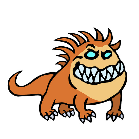 Cartoon big dog from hell. Cute monster. Vector illustration
