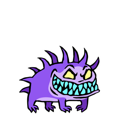 Small dog from hell. Funny monster with big fangs. Vector illustration.