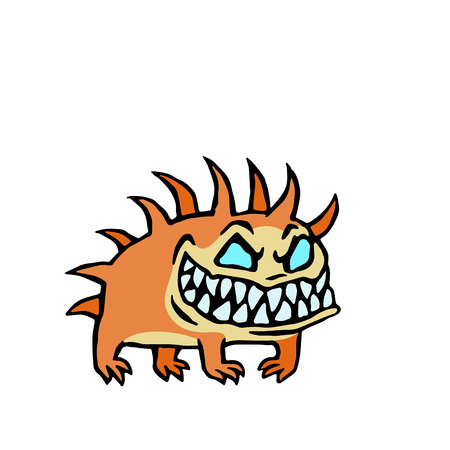 small infernal orange dog. cute monster. vector illustration