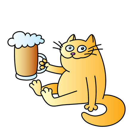 cat with a mug of beer. funny cartoon character. good evening. orange color. isolated vector illustration.