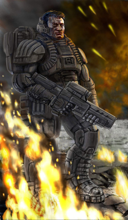 infantryman: Soldier on the field of battle is lowering a weapon. Science fiction original character the soldier of the future. Freehand digital drawing illustration. Stock Photo