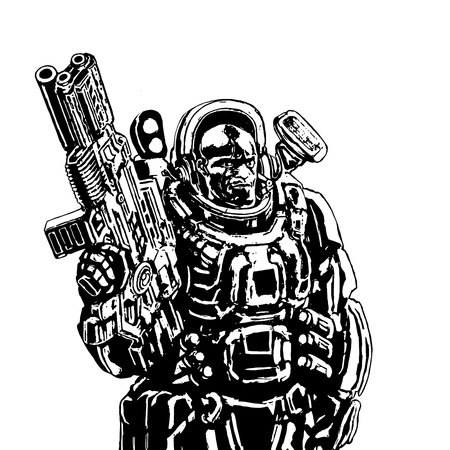 infantryman: Heavy space marine in suit with large plasma rifle. Science fiction original character the soldier of the future. Vector illustration.