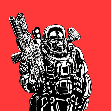 Heavy space marine in suit with large plasma gun. Science fiction original character the soldier of the future. Vector illustration. Red background.