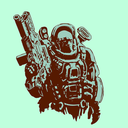 Heavy space marine in suit with large plasma gun. Science fiction original character the soldier of the future. Vector illustration. Illustration