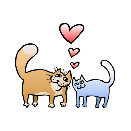 brown shirt: Cute Enamored Cats in Brown and Blue Colors. Romantic mood. Freehand digital outline drawing. Isolated vector illustration.