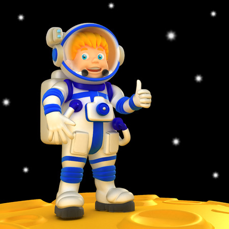 Cartoon spaceman 3D illustration. Funny character in space suit. Stock Photo