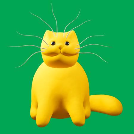 enamored: Cartoon ginger cat. Cute orange kitten character on green background. 3D illustration. Stock Photo