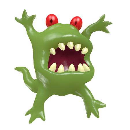 bacteria cartoon: Cartoon monster big head. 3D illustration. Funny cute emoticon green character.